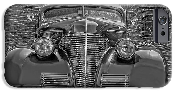 Asphalt iPhone Cases - 1939 Chevy Immenent Front BW Art iPhone Case by Lesa Fine