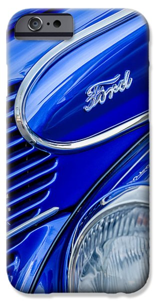 Wagon Photographs iPhone Cases - 1939 Ford Woody Wagon Side Emblem iPhone Case by Jill Reger