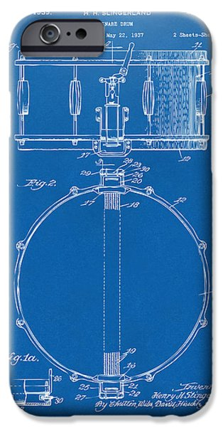 Marching Band iPhone Cases - 1939 Snare Drum Patent Blueprint iPhone Case by Nikki Marie Smith