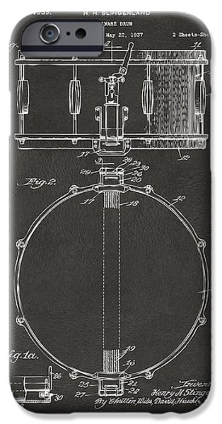 Marching Band iPhone Cases - 1939 Snare Drum Patent Gray iPhone Case by Nikki Marie Smith