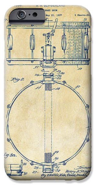 Cave Digital iPhone Cases - 1939 Snare Drum Patent Vintage iPhone Case by Nikki Marie Smith