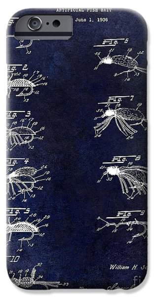 Shark iPhone Cases - 1940 Artificial Fishing Bait Patent Drawing Blue iPhone Case by Jon Neidert