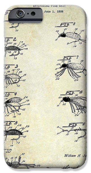 Shark iPhone Cases - 1940 Artificial Fishing Bait Patent Drawing iPhone Case by Jon Neidert