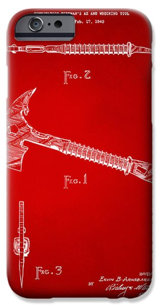 Cave Digital Art iPhone Cases - 1940 Firemans Axe Artwork Red iPhone Case by Nikki Marie Smith