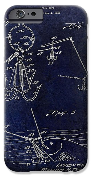 Shark iPhone Cases - 1940 Fishing Gaff Patent Drawing Blue iPhone Case by Jon Neidert