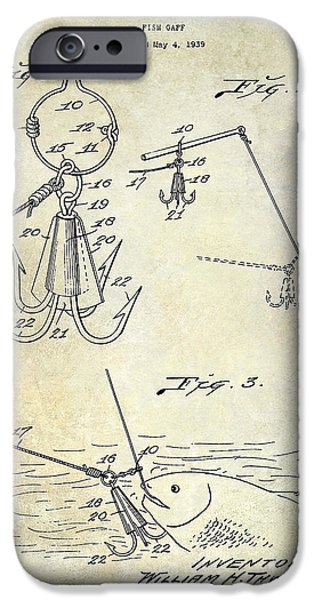 Shark iPhone Cases - 1940 Fishing Gaff Patent Drawing iPhone Case by Jon Neidert