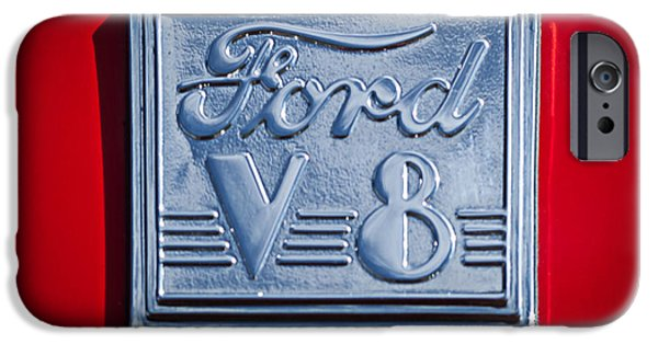 Ford V8 iPhone Cases - 1940 Ford Coupe V8 Emblem iPhone Case by Jill Reger