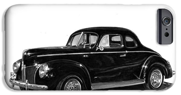 Pen And Ink Framed Prints iPhone Cases - 1940 Ford Restro Rod iPhone Case by Jack Pumphrey