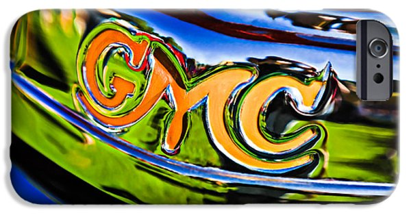 Antique Cars iPhone Cases - 1940 GMC Pickup Truck Emblem iPhone Case by Jill Reger