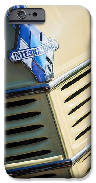 Station Wagon iPhone Cases - 1940 International D-2 Station Wagon Grille Emblem iPhone Case by Jill Reger
