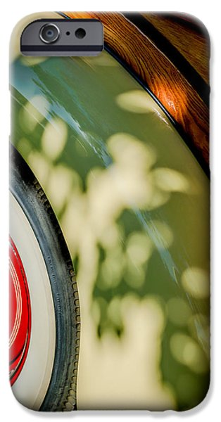 Station Wagon iPhone Cases - 1940 International D-2 Station Wagon Wheel iPhone Case by Jill Reger