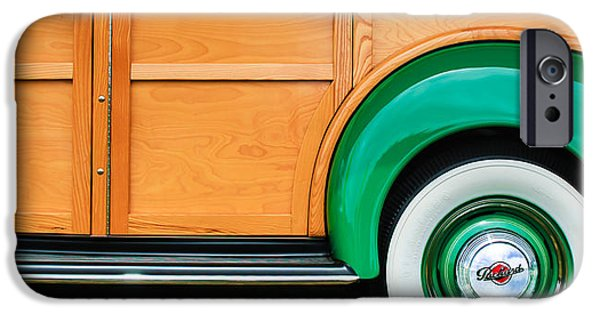 Station Wagon iPhone Cases - 1940 Packard 120 Woody Station Wagon Wheel Emblem iPhone Case by Jill Reger