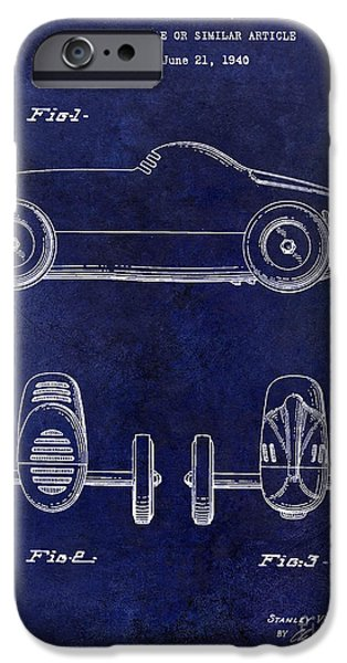Indy Car iPhone Cases - 1940 Toy Car Patent Drawing Blue iPhone Case by Jon Neidert