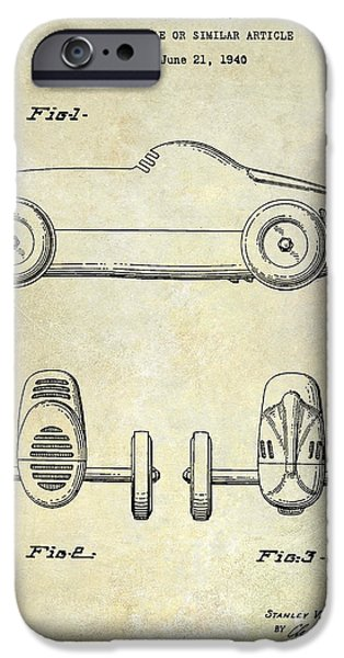 Indy Car iPhone Cases - 1940 Toy Car Patent Drawing iPhone Case by Jon Neidert