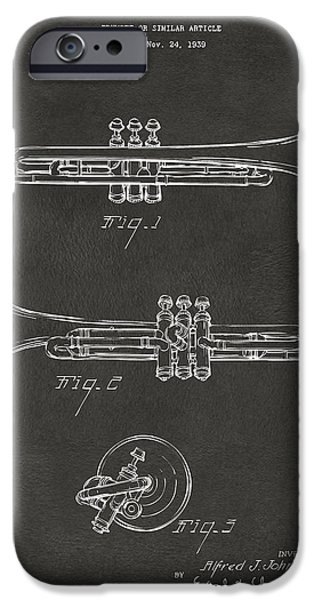 Marching Band iPhone Cases - 1940 Trumpet Patent Artwork - Gray iPhone Case by Nikki Marie Smith