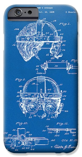 Steampunk iPhone Cases - 1940 Welders Goggles Patent Artwork Blueprint iPhone Case by Nikki Marie Smith