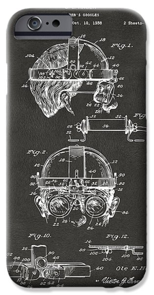 Steampunk iPhone Cases - 1940 Welders Goggles Patent Artwork - Gray iPhone Case by Nikki Marie Smith