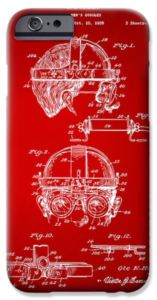 Steampunk iPhone Cases - 1940 Welders Goggles Patent Artwork Red iPhone Case by Nikki Marie Smith