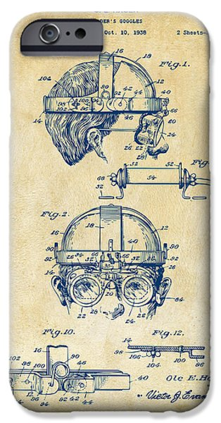 Steampunk iPhone Cases - 1940 Welders Goggles Patent Artwork Vintage iPhone Case by Nikki Marie Smith