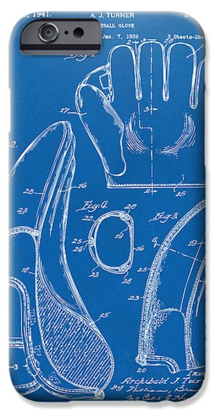Baseball Glove iPhone Cases - 1941 Baseball Glove Patent - Blueprint iPhone Case by Nikki Marie Smith