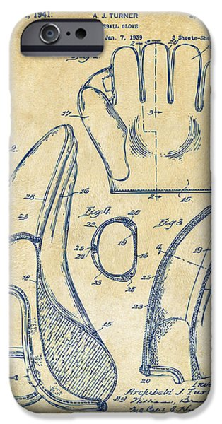Pitcher iPhone Cases - 1941 Baseball Glove Patent - Vintage iPhone Case by Nikki Marie Smith