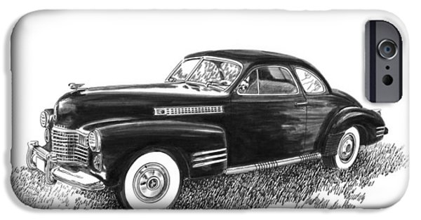 Power Lines Drawings iPhone Cases - 1941 Cadillac 62 Coupe iPhone Case by Jack Pumphrey
