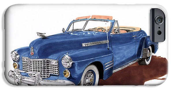 Classic Car Paintings iPhone Cases - 1941 Cadillac Series 62 Convertible iPhone Case by Jack Pumphrey