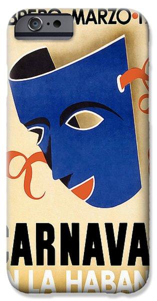 Fashion Design Art iPhone Cases - 1941 Carnaval Vintage Travel Poster iPhone Case by Jon Neidert