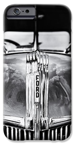 Red Abstract iPhone Cases - 1941 Ford Pick Up Monochrome iPhone Case by Tim Gainey