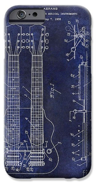 `les iPhone Cases - 1941 Gibson Electric Guitar Patent Drawing Blue iPhone Case by Jon Neidert