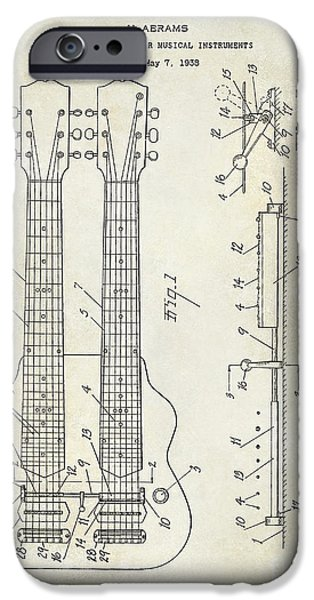 `les iPhone Cases - 1941 Gibson Electric Guitar Patent Drawing iPhone Case by Jon Neidert