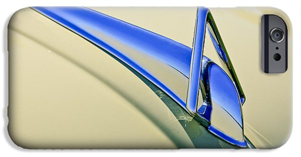 Historic Vehicle iPhone Cases - 1949 Hudson Super Six  Hood Ornament iPhone Case by Jill Reger