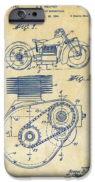 Motorcycle iPhone Cases - 1941 Indian Motorcycle Patent Artwork - Vintage iPhone Case by Nikki Marie Smith