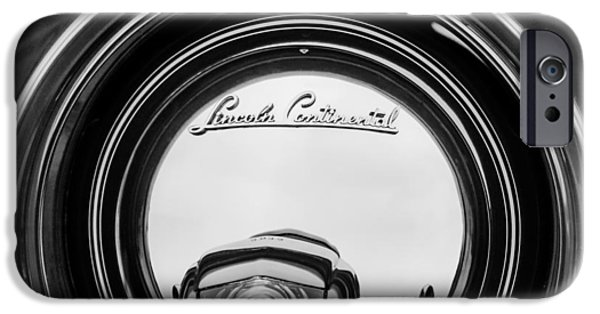 Lincoln iPhone Cases - 1941 Lincoln Continental Spare Tire Emblem - 1963BW iPhone Case by Jill Reger