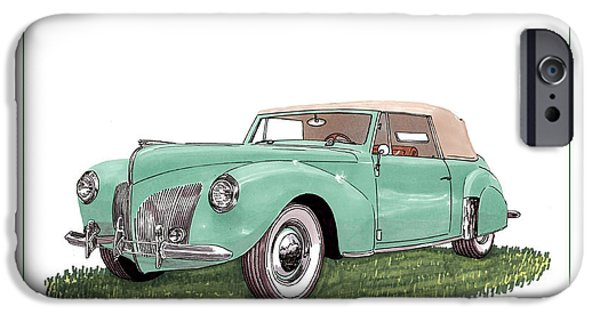 Lincoln Drawings iPhone Cases - 1941 Lincoln V-12 Continental iPhone Case by Jack Pumphrey