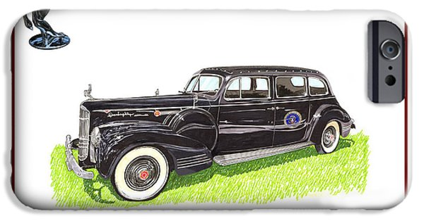 Franklin Drawings iPhone Cases - 1941 Packard 180 presidential limousine iPhone Case by Jack Pumphrey