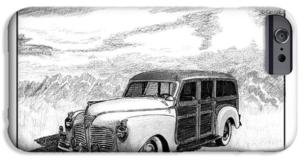Pen And Ink Framed Prints iPhone Cases - 1941 Plymouth Woody iPhone Case by Jack Pumphrey
