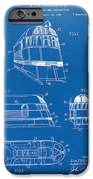 Train iPhone Cases - 1941 Zephyr Train Patent Blueprint iPhone Case by Nikki Marie Smith