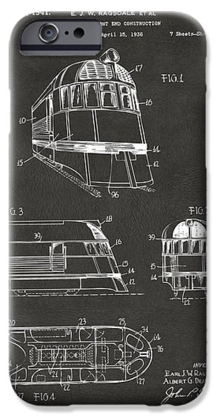 Train iPhone Cases - 1941 Zephyr Train Patent Gray iPhone Case by Nikki Marie Smith