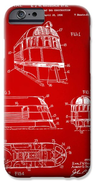 Rail Digital Art iPhone Cases - 1941 Zephyr Train Patent Red iPhone Case by Nikki Marie Smith