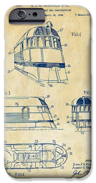Rail Digital Art iPhone Cases - 1941 Zephyr Train Patent Vintage iPhone Case by Nikki Marie Smith