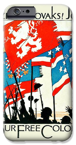 World War One Digital Art iPhone Cases - 1942 - World War Two - American Czechoslovakia Recruiting Poster - Color iPhone Case by John Madison