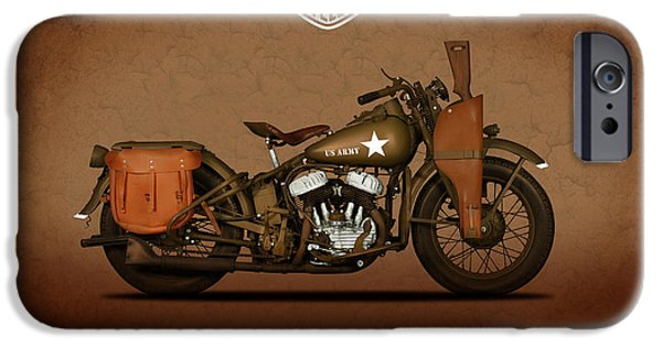 Glides iPhone Cases - 1942 Harley Davidson WLA iPhone Case by Mark Rogan