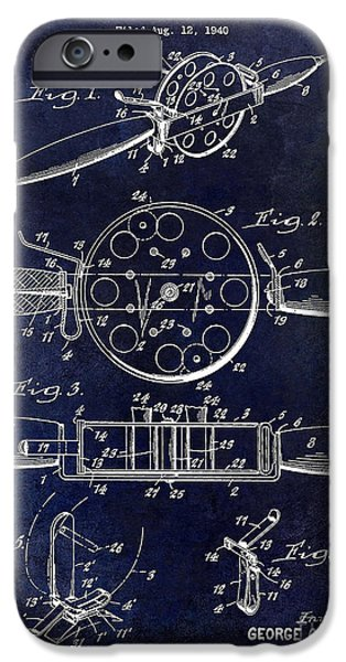 Shark iPhone Cases - 1943 Fishing Reel Patent Drawing Blue iPhone Case by Jon Neidert