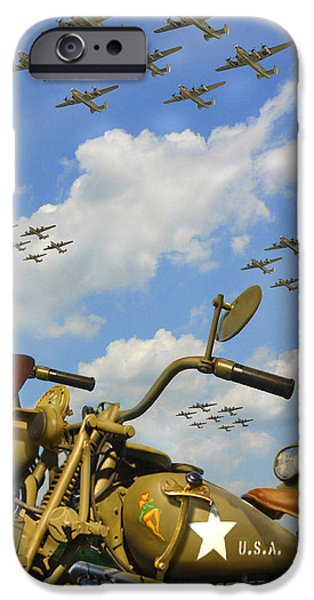 Warbird iPhone Cases - 1943 Harley WFC with B - 24 Liberators 2c iPhone Case by Mike McGlothlen