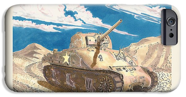 Not In Use Drawings iPhone Cases - 1943 Sherman M 4 Medium Taqnk iPhone Case by Jack Pumphrey