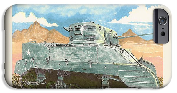Not In Use Drawings iPhone Cases - 1943 Stuart M-5 Light Tank Combat iPhone Case by Jack Pumphrey