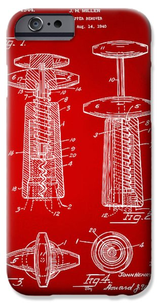 Red Wine iPhone Cases - 1944 Wine Corkscrew Patent Artwork - Red iPhone Case by Nikki Marie Smith