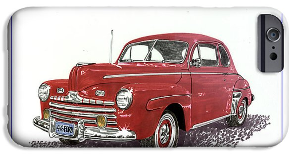 Gas Paintings iPhone Cases - 1946 Ford Special Deluxe Coupe iPhone Case by Jack Pumphrey
