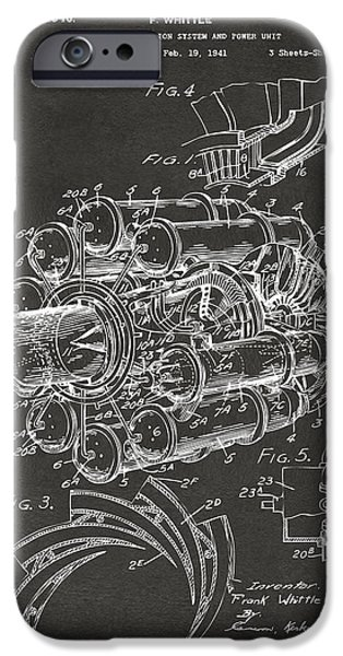 Flight Digital Art iPhone Cases - 1946 Jet Aircraft Propulsion Patent Artwork - Gray iPhone Case by Nikki Marie Smith
